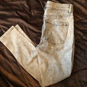 Grey Acid Wash High Rise Ankle Jeggings